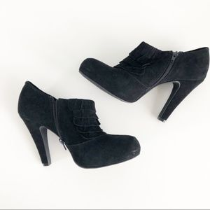 Gianni Bini Black Suede Ankle Booties Size 10